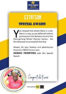 44th MTN SWAG AWARD FROM GHANA